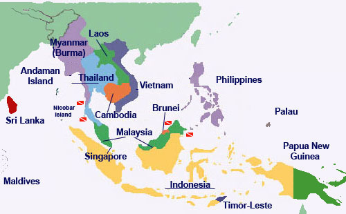 Dive Sites Map South East Asia